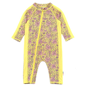 "Sunsuit - Long Sleeve Romper Swimsuit with UV 50+ UV Sun Protection | ""Ditsy Floral""-0-6 Month-Ditsy Floral-SwimZip UPF 50+ Sun Protective Swimwear & UV Zipper Rash Guards-pos1"