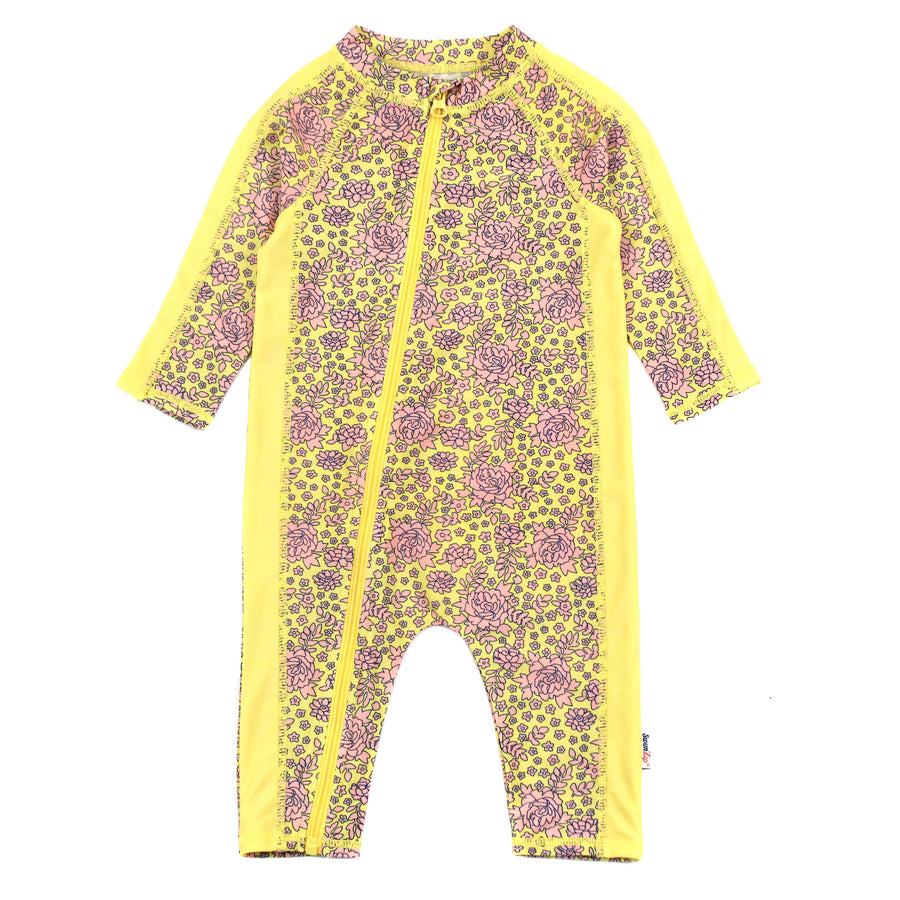 "Sunsuit - Long Sleeve Romper Swimsuit with UV 50+ UV Sun Protection | ""Ditsy Floral"" - SwimZip Sun Protection Swimwear"