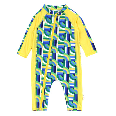 "Sunsuit - Long Sleeve Romper with UPF 50+ UV Sun Protection | ""Geo Wave"""
