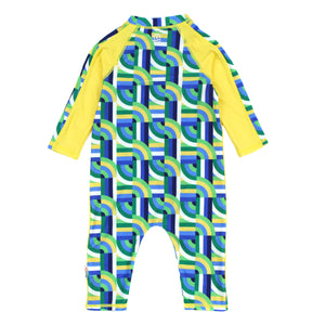 "Sunsuit - Long Sleeve Romper with UPF 50+ UV Sun Protection | ""Geo Wave"" - SwimZip Sun Protection Swimwear"