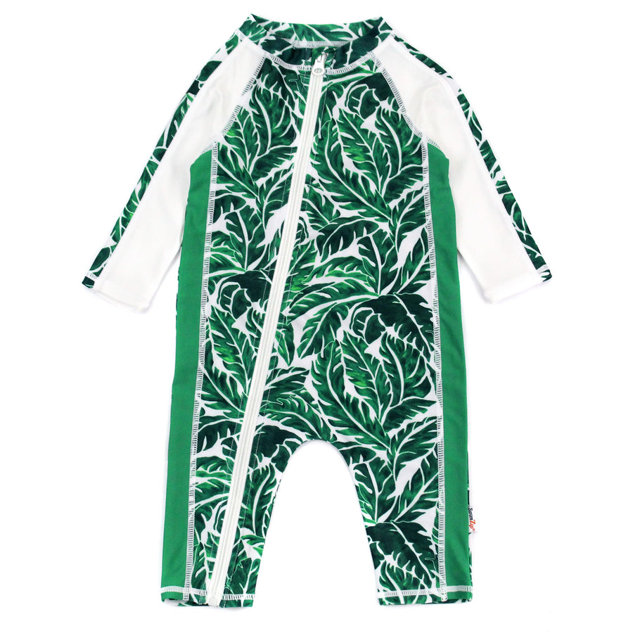 "Sunsuit - Long Sleeve Romper Swimsuit with UV 50+ UV Sun Protection | ""Palm Leaf"" - SwimZip Sun Protection Swimwear"