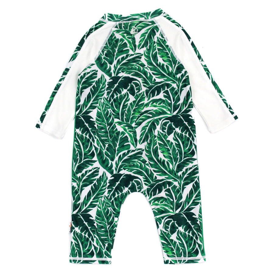 "Sunsuit - Long Sleeve Romper Swimsuit with UV 50+ UV Sun Protection | ""Palm Leaf"""
