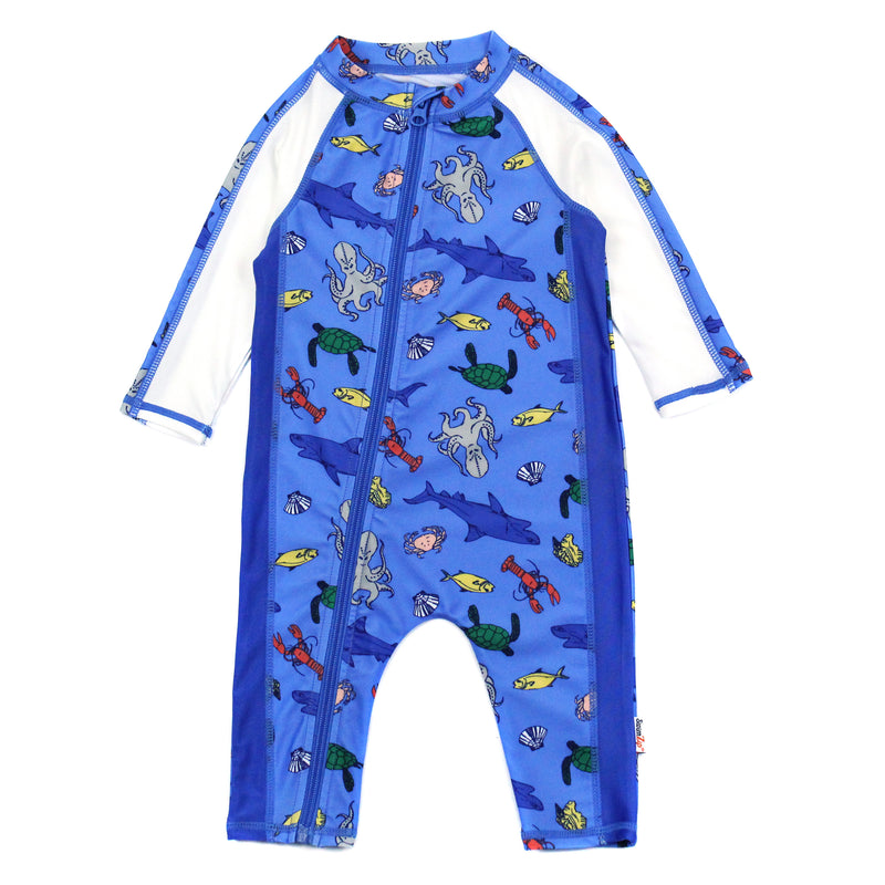 "Sunsuit - Boy Long Sleeve Romper with UPF 50+ UV Sun Protection | ""Sea Animals""-0-6 Month-Sea Animal-SwimZip UPF 50+ Sun Protective Swimwear & UV Zipper Rash Guards-pos1"