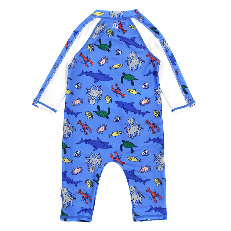 "Sunsuit - Boy Long Sleeve Romper with UPF 50+ UV Sun Protection | ""Sea Animals""-SwimZip UPF 50+ Sun Protective Swimwear & UV Zipper Rash Guards-pos2"