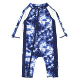 "Sunsuit - Long Sleeve Romper Swimsuit with UV 50+ UV Sun Protection | ""Tie Dye""-0-6 Month-Tie Dye-SwimZip UPF 50+ Sun Protective Swimwear & UV Zipper Rash Guards-pos1"