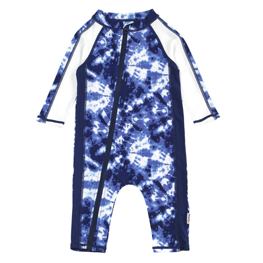 "Sunsuit - Long Sleeve Romper Swimsuit with UV 50+ UV Sun Protection | ""Tie Dye"" - SwimZip Sun Protection Swimwear"