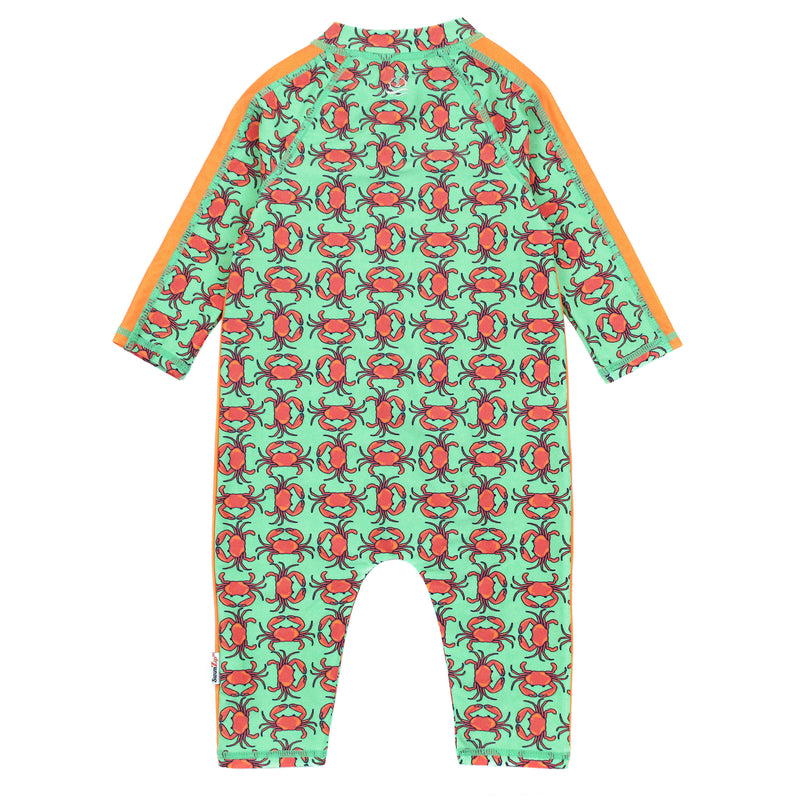 "Sunsuit - Long Sleeve Romper Swimsuit - ""Don't Be a Crab""-SwimZip UPF 50+ Sun Protective Swimwear & UV Zipper Rash Guards-pos3"