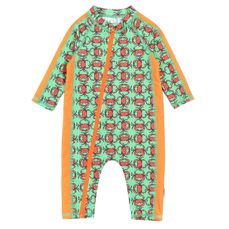 "Sunsuit - Long Sleeve Romper Swimsuit - ""Don't Be a Crab""-0-6 Month-Don't Be a Crab-SwimZip UPF 50+ Sun Protective Swimwear & UV Zipper Rash Guards-pos1"