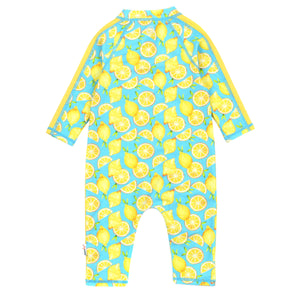 "Sunsuit - Long Sleeve Romper Swimsuit - ""Lemons"" - SwimZip Sun Protection Swimwear"