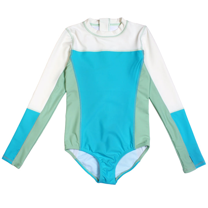 Girl's Long Sleeve Surf Suit (1 Piece) - Aqua - SwimZip Sun Protection Swimwear