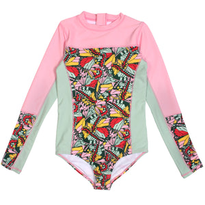"Surf Suit - Girl Long Sleeve Body Suit (1 Piece) - ""Butterfly Love"" - SwimZip Sun Protection Swimwear"