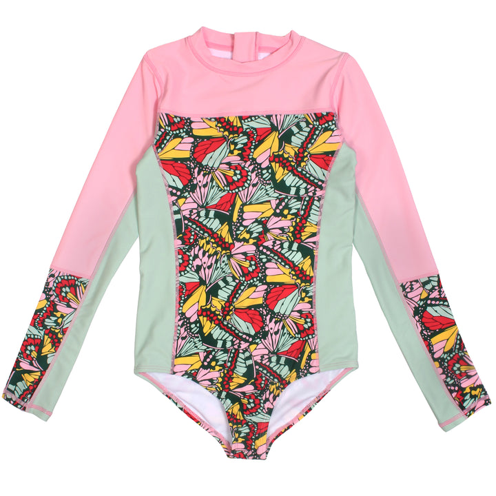 "Girl's Long Sleeve Surf Suit (1 Piece) - ""Butterfly Love"" - SwimZip Sun Protection Swimwear"