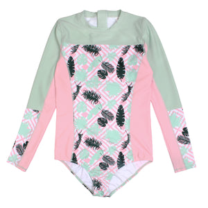 "Girl's Long Sleeve Surf Suit (1 Piece) - ""Palm Breeze"" - SwimZip Sun Protection Swimwear"