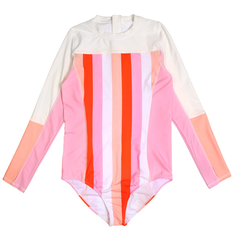 "Girl's Long Sleeve Surf Suit (1 Piece) - ""Peachy Stripes""-6-12 Month-Peach Stripes-SwimZip UPF 50+ Sun Protective Swimwear & UV Zipper Rash Guards-pos1"