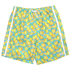 "Men's 8""-8.5"" Swim Trunks - Multiple Colors-Small-Lemons-SwimZip UPF 50+ Sun Protective Swimwear & UV Zipper Rash Guards-pos1"