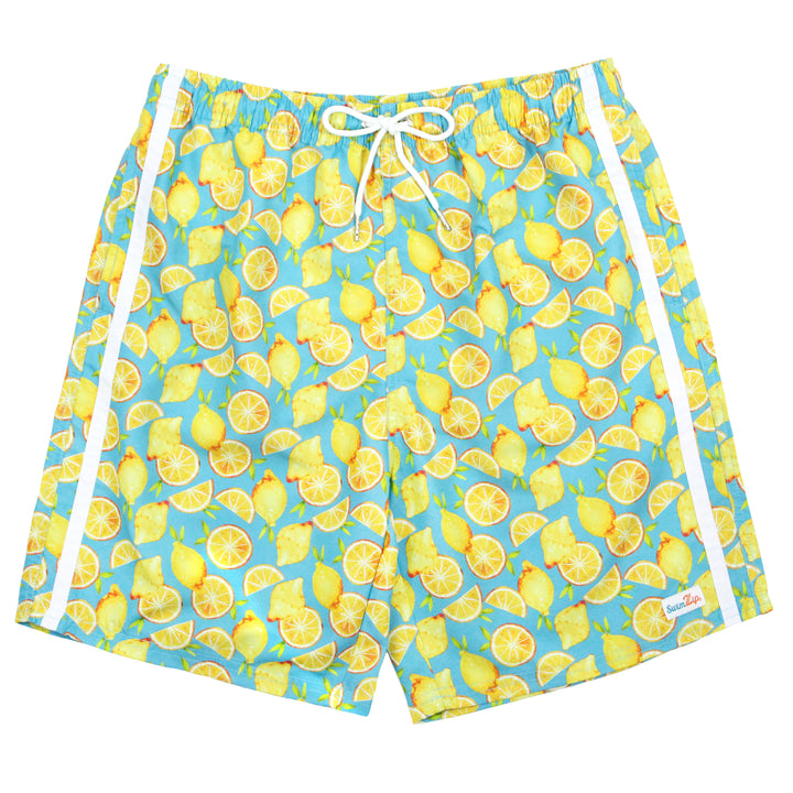 "Boy's Swim Trunks (Sizes 6-14) - ""Lemons"" - SwimZip Sun Protection Swimwear"
