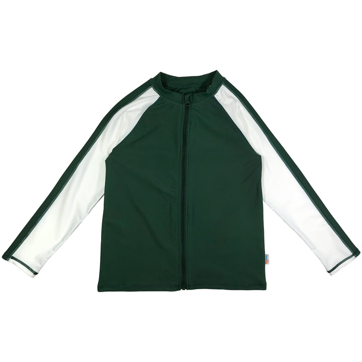 Kid's Long Sleeve Rash Guard Swim Shirt (Two-Tone) - Green/White - SwimZip Sun Protection Swimwear