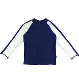 Kid's Long Sleeve Rash Guard Swim Shirt (Two-Tone) - Multiple Colors-0-3 Month-Navy/White-SwimZip UPF 50+ Sun Protective Swimwear & UV Zipper Rash Guards-pos1