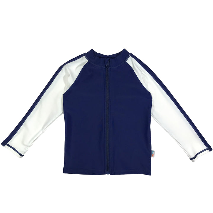 Kid's Long Sleeve Rash Guard Swim Shirt (Two-Tone) - Navy/White - SwimZip Sun Protection Swimwear