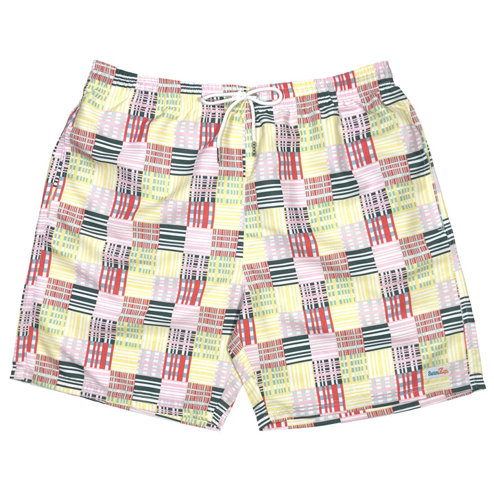 "Men's 6.5"" Swim Trunks - ""Madras"" - SwimZip Sun Protection Swimwear"