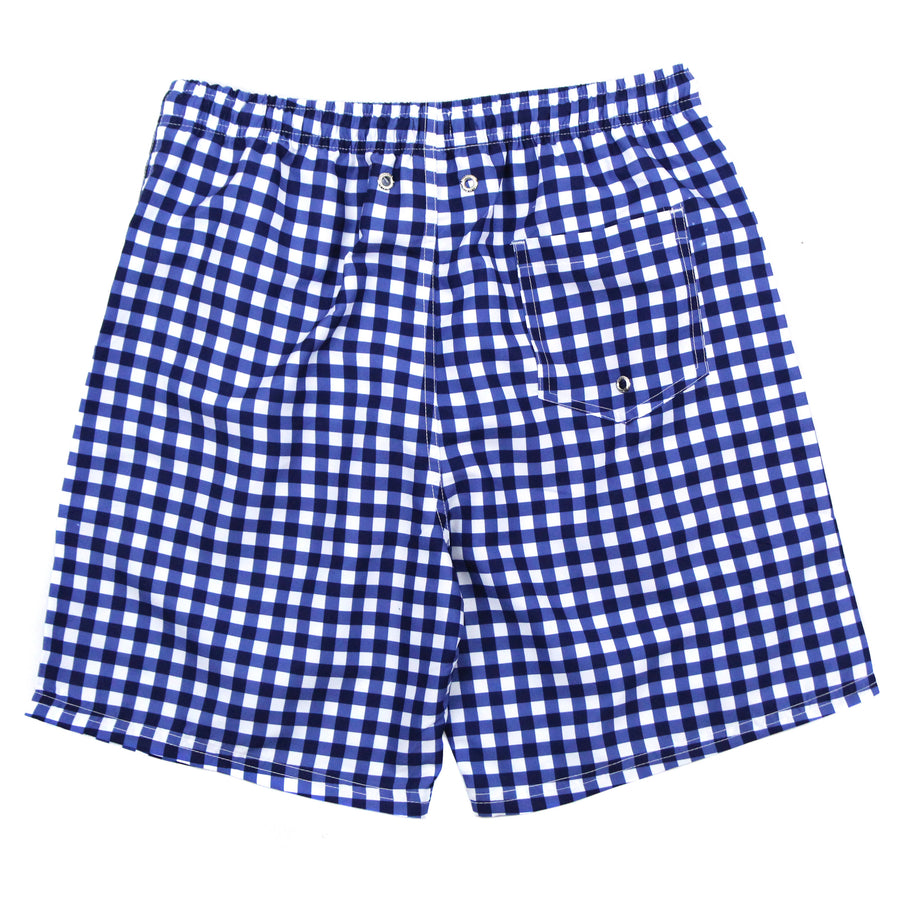 "Men's 8""-8.5"" Swim Trunks - ""Navy Gingham""-SwimZip UPF 50+ Sun Protective Swimwear & UV Zipper Rash Guards-pos3"