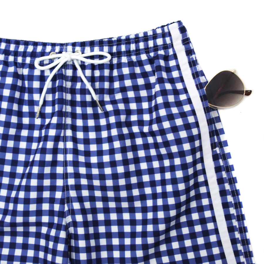 "Men's 8""-8.5"" Swim Trunks - ""Navy Gingham""-SwimZip UPF 50+ Sun Protective Swimwear & UV Zipper Rash Guards-pos4"