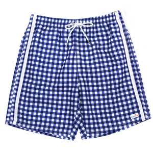 "Men's 8""-8.5"" Swim Trunks - ""Navy Gingham""-Large-Navy Gingham-SwimZip UPF 50+ Sun Protective Swimwear & UV Zipper Rash Guards-pos1"