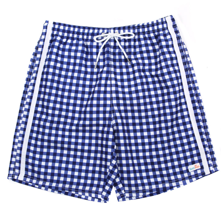 "Men's 8""-8.5"" Swim Trunks - ""Navy Gingham"" - SwimZip Sun Protection Swimwear"