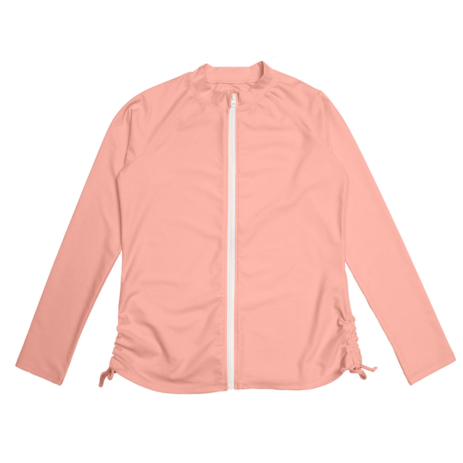 Women's Long Sleeve Zip Front Rash Guard - Pink - SwimZip Sun Protection Swimwear
