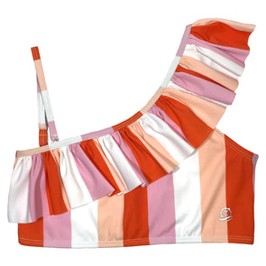 Women's UPF 50+ Sun Protection One-Should Bikini Top UPF 50+ | Peach Stripes