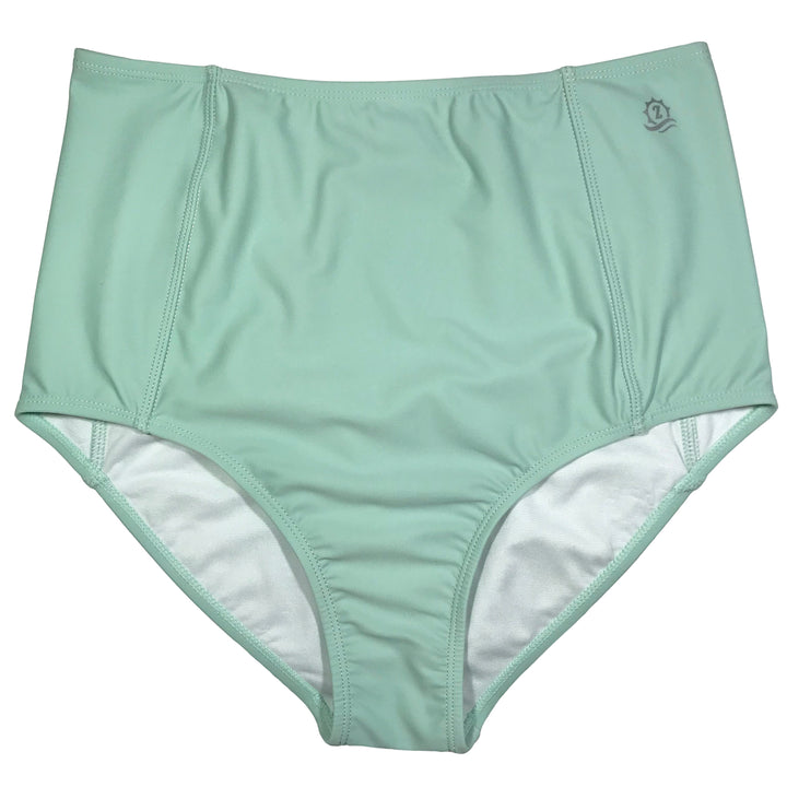Women's High Waist Bikini Bottoms - Mint - SwimZip Sun Protection Swimwear
