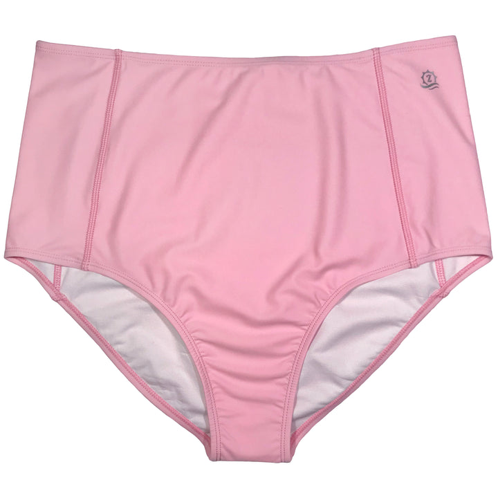Women's High Waist Bikini Bottoms - Pink - SwimZip Sun Protection Swimwear