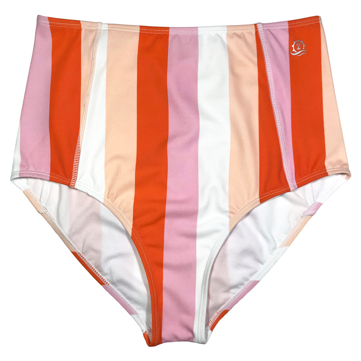 "Women's High Waist Bikini Bottoms - ""Peach Stripes"""