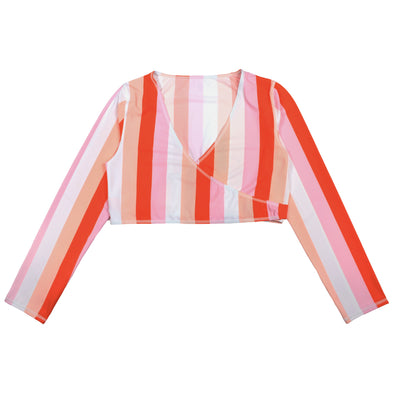 "Women UPF 50+ Swim Wrap Top (1 Piece) | ""Peach Stripes"""