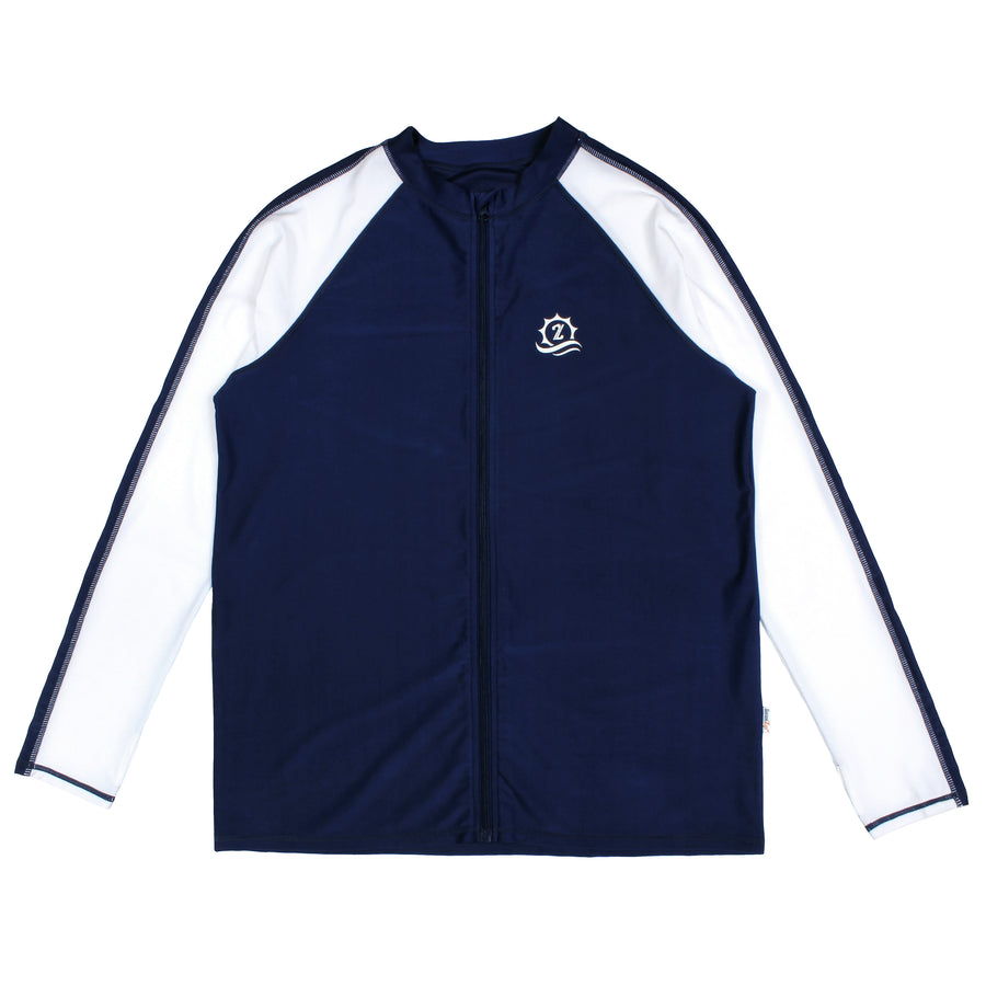 "Men's Long Sleeve Rash Guard - ""Cannonball King"" Navy/White - SwimZip Sun Protection Swimwear"