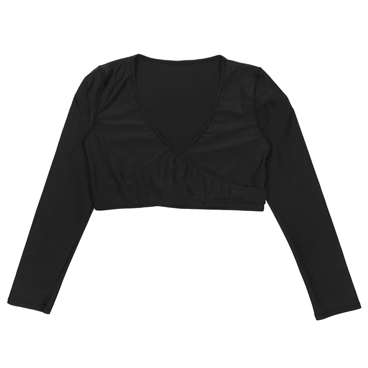 Girl's Swim Wrap Top (1 Piece) - Black - SwimZip Sun Protection Swimwear