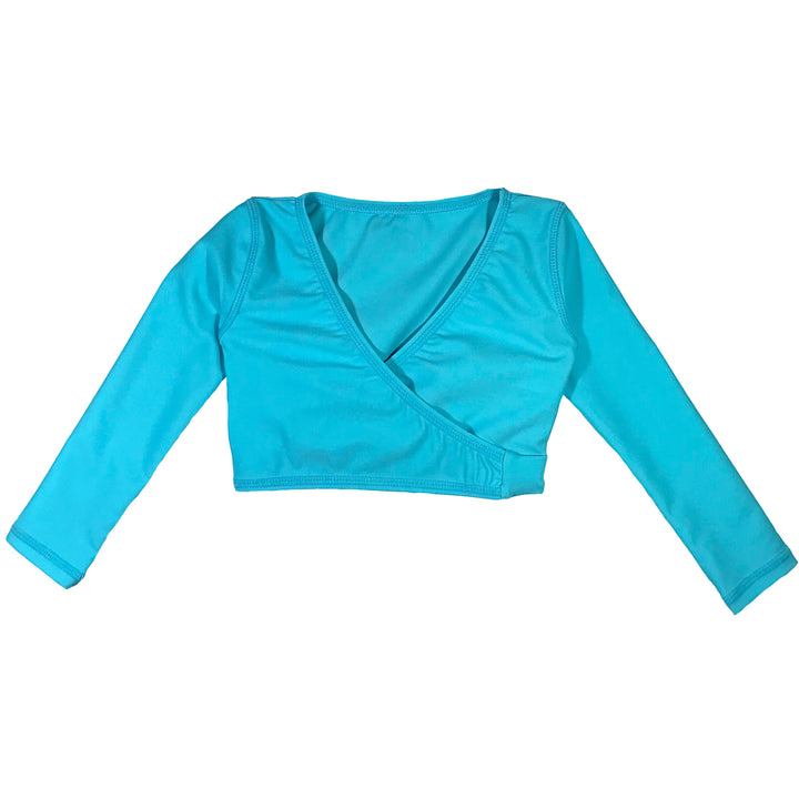 "Girl's Swim Wrap Top (1 Piece) - ""Aqua Waves"" - SwimZip Sun Protection Swimwear"