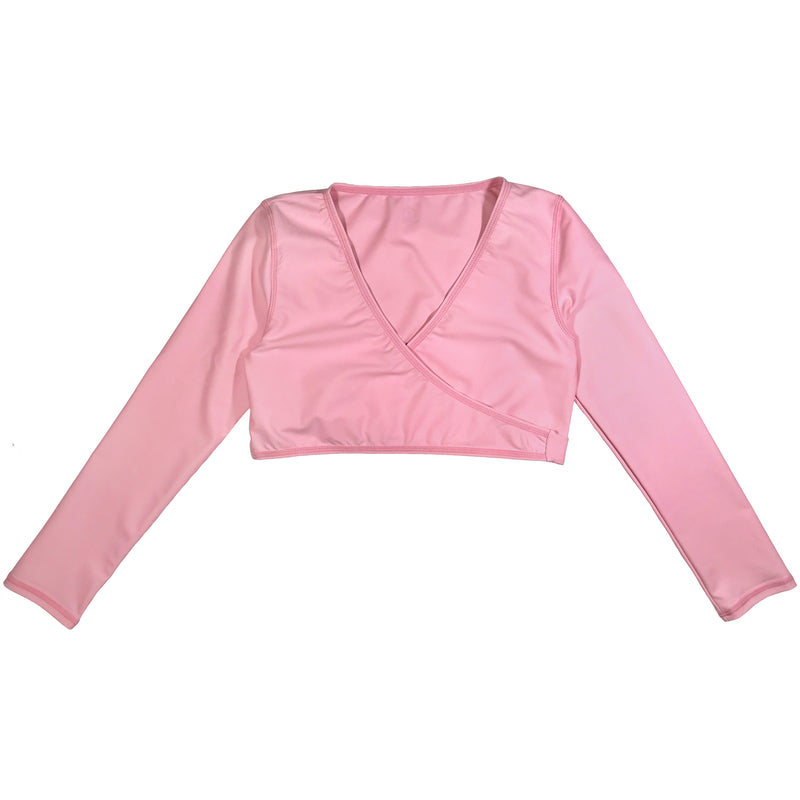 "Girl's Swim Wrap Top (1 Piece) - ""Orchid Pink""-2T-Pink-SwimZip UPF 50+ Sun Protective Swimwear & UV Zipper Rash Guards-pos1"