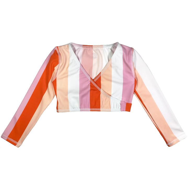 "Girl UPF Wrap Top (1 Piece) - ""Peach Stripes"" - SwimZip Sun Protection Swimwear"