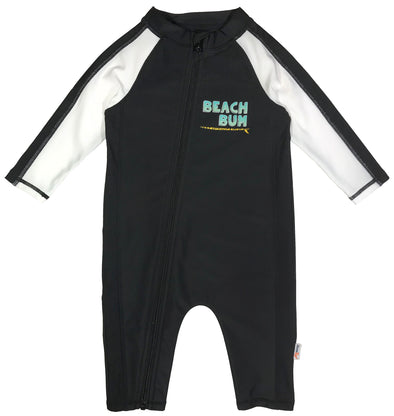 Sunsuit Boy Long Sleeve Romper Swimsuit with UPF 50+ black swimzip Beach Bum