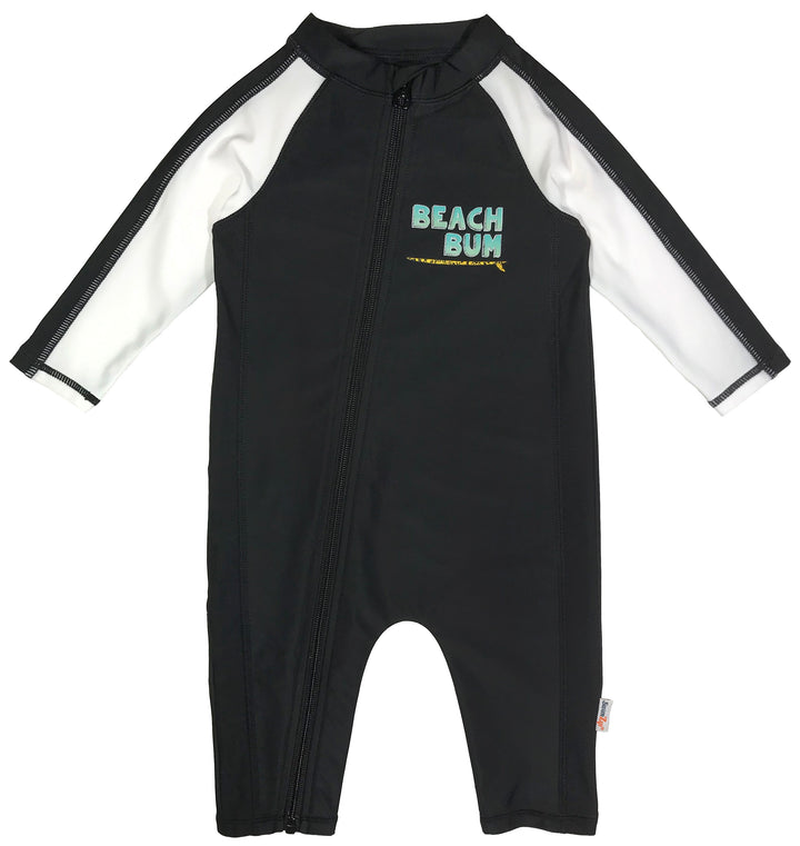 "Sunsuit - Boy Long Sleeve Romper Swimsuit with UPF 50+ | ""Beach Bum"" - SwimZip Sun Protection Swimwear"