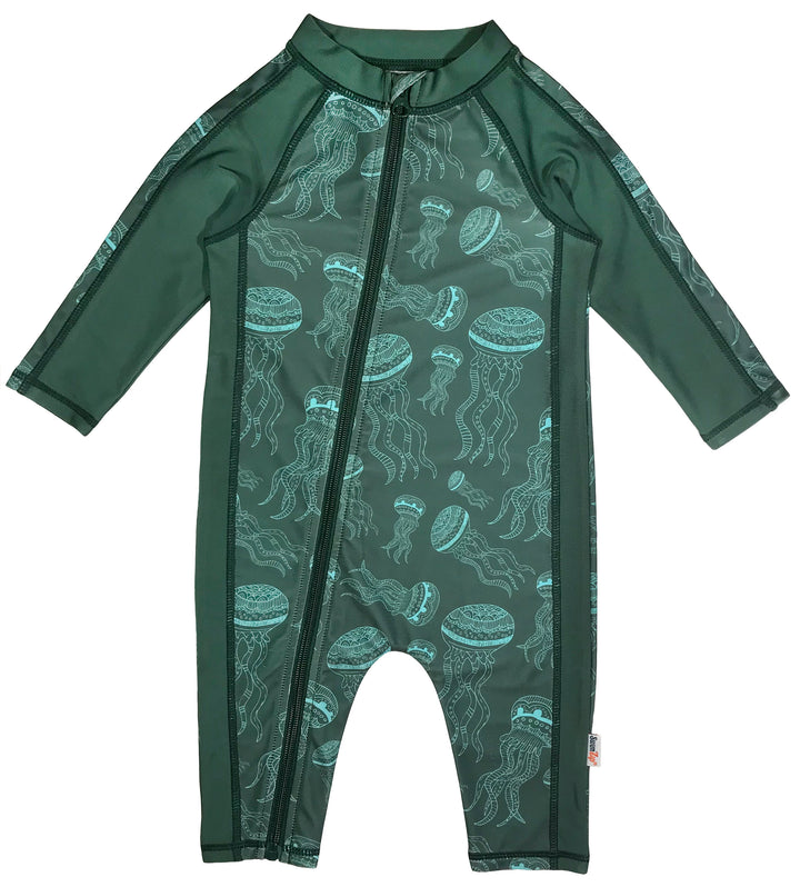 boy long sleeve sunsuit romper swimsuit upf zip green swimzip jellyfish