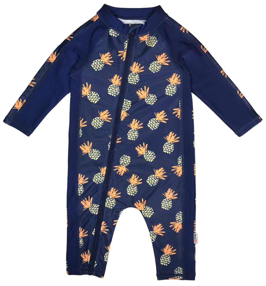 "Sunsuit - Boy Long Sleeve Romper with UPF 50+ UV Sun Protection | ""Pineapple Dreams""-0-6 Month-Pineapple-SwimZip UPF 50+ Sun Protective Swimwear & UV Zipper Rash Guards-pos1"