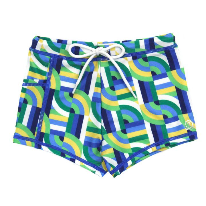 "Swim Shorties with SPF 50+ UV Sun Protection | ""Geo Wave"" - SwimZip Sun Protection Swimwear"