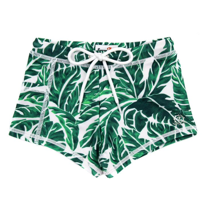 "Swim Shorties with SPF 50+ UV Sun Protection- ""Palm Leaf"" - SwimZip Sun Protection Swimwear"