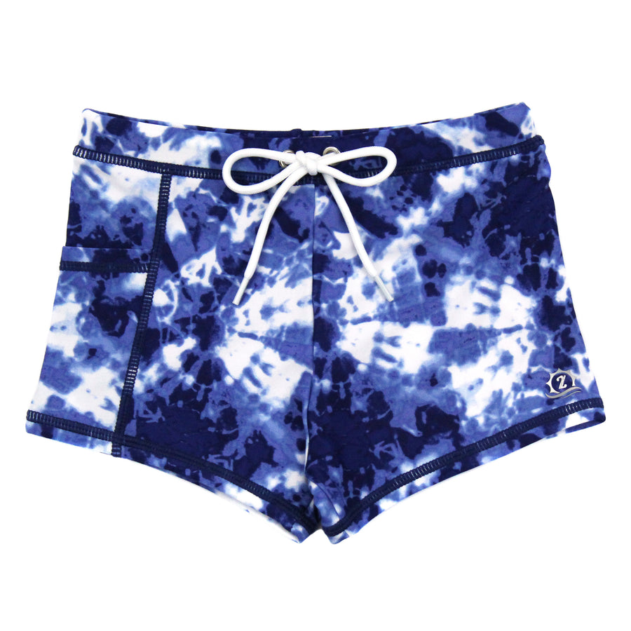"Swim Shorties with SPF 50+ UV Sun Protection | ""Tie Dye""-6-12 Month-Tie Dye-SwimZip UPF 50+ Sun Protective Swimwear & UV Zipper Rash Guards-pos1"