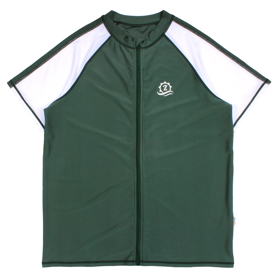 "Men's Short Sleeve Rash Guard Swim Shirt - ""Board Master"" Hunter Green"