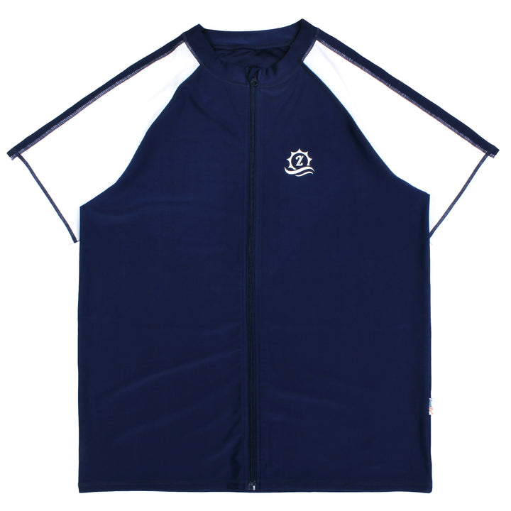 "Men's Short Sleeve Rash Guard Swim Shirt - ""Board Master"" Navy/White - SwimZip Sun Protection Swimwear"