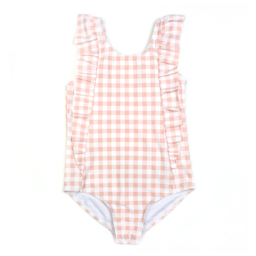 SwimZip Little Girl Gingham Swimsuit with ruffle.  Pink Gingham Swimwear
