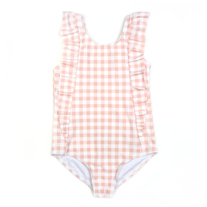 "Girl's ""Too Sweet"" Ruffle One-Piece Swimsuit - ""Peach Gingham"" - SwimZip Sun Protection Swimwear"